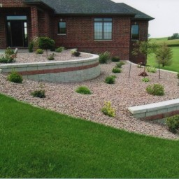 Shrub beds and retaining walls