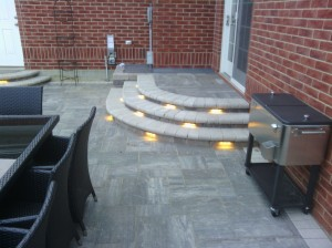 Hardscape lights in stairs