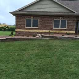 Retaining Wall and Shrub Bed