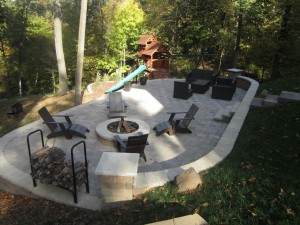 Patio with sitting area and firepit area